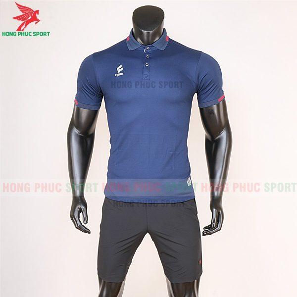 áo di chuyển bóng đá polo UV Egan xanh đen 1