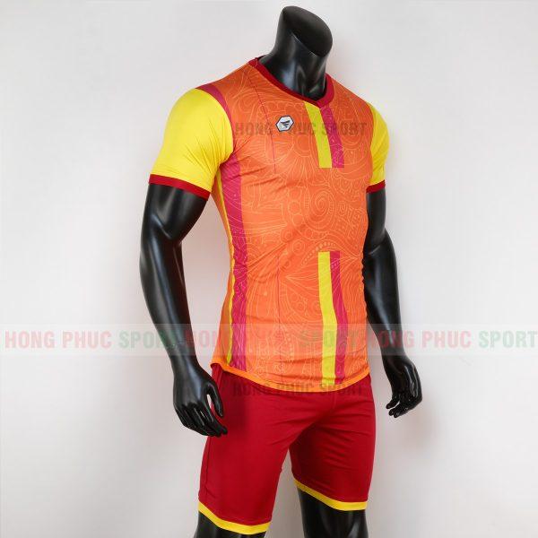 Áo bóng đá không logo forest màu xanh cam 2