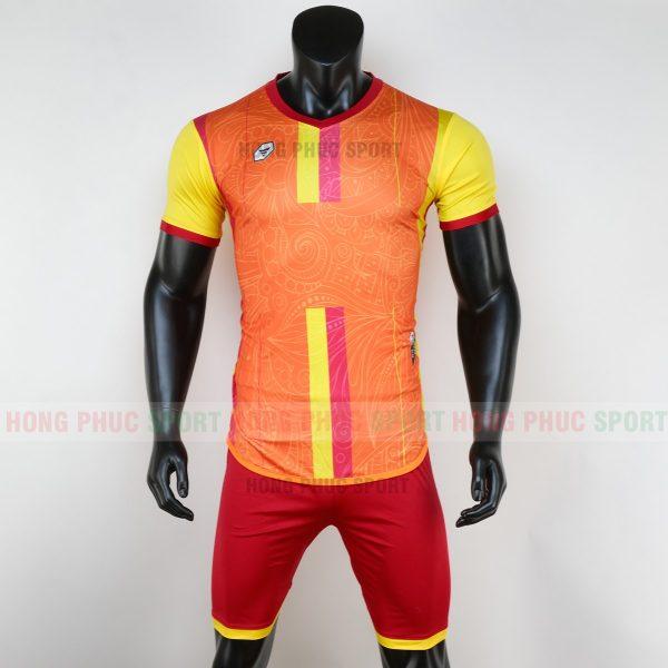 Áo bóng đá không logo forest màu xanh cam 6