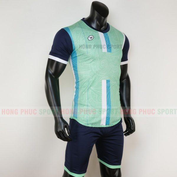 Áo bóng đá không logo forest màu xanh ngọc 2