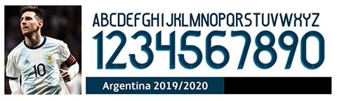 Font số áo bóng đá Argentina 2019 2020