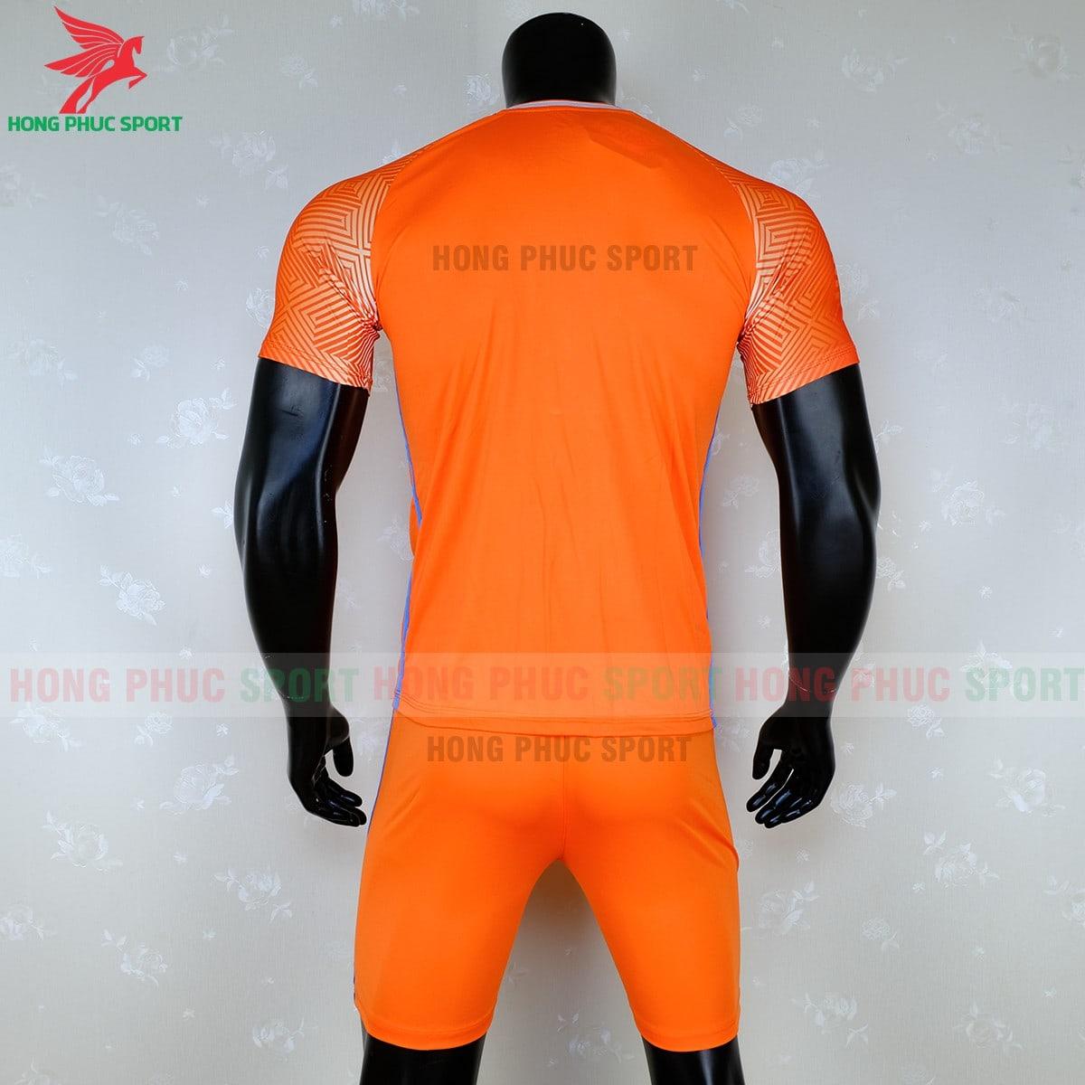 Áo đá banh không logo 2020 Riki Quator màu cam (mặt sau)
